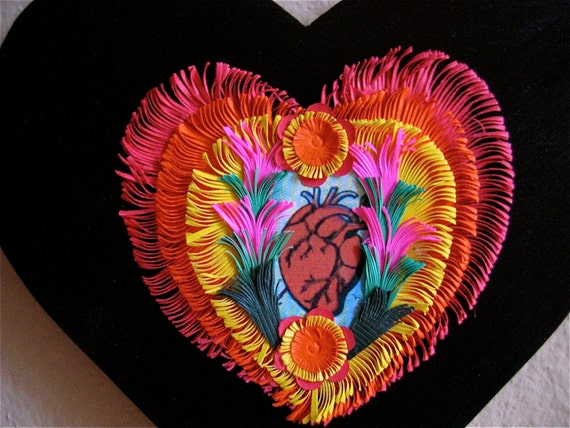 Valentine You are in my heart-------Large  Handcrafted SACRED HEART Shrine-  Vibrant Colors