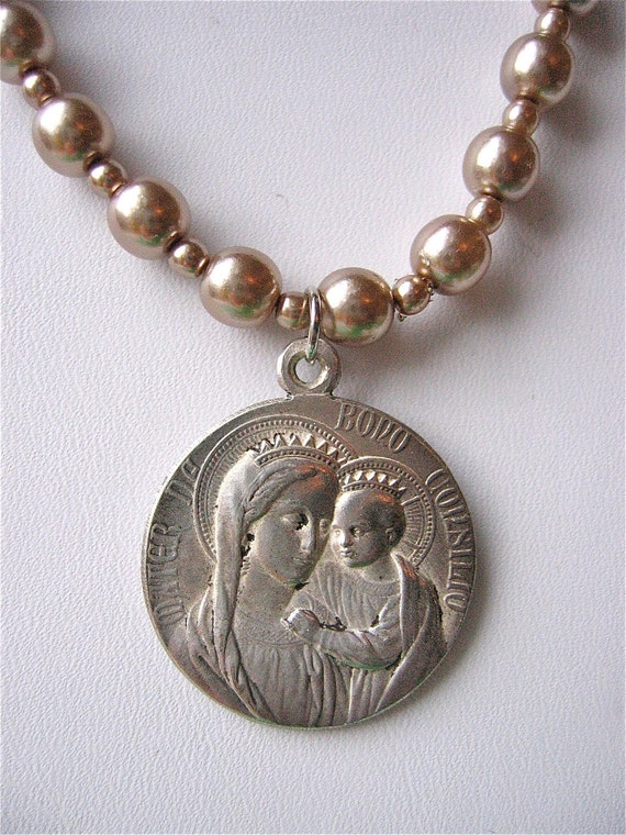 Serenity-   Vintage Holy Family Religious Pendant on Vintage Cocoa Faux Pearls- ooak and stunning