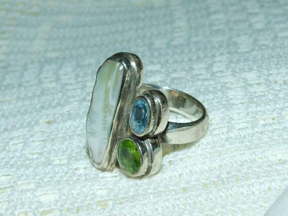 Sterling silver biwa pearl peridot and blue topaz ring FREE SHIP