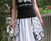 Black and White flower lolita embroidered full circle skirt Handmade