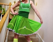 Arsniccandy Vintage inspired Green y white polka dot y lace Full circle skirt Handmade