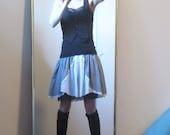 Vintage Black y White High Waisted gingham White eyelet Apron skirt