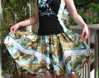 Blue Japanese flower print Full circle skirt with accordion Lace  bows and buttons
