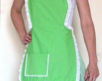 Arsniccandy Green y White Heart and Lace simple 'lil Apron Handmade