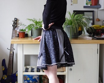 Black and White gingham and lace sparkle Full circle skirt
