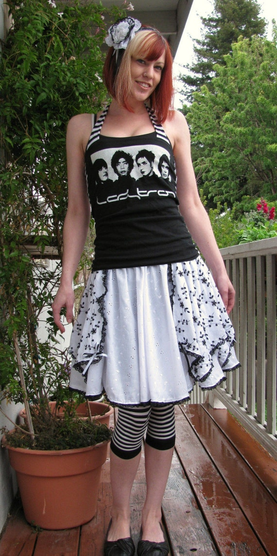 Black and White flower lolita embroidered full circle skirt Handmade