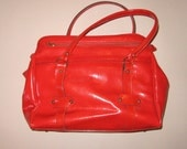 Super Cute Vintage 60s / 70s RED Vinyl Tote Bag Carry All Purse