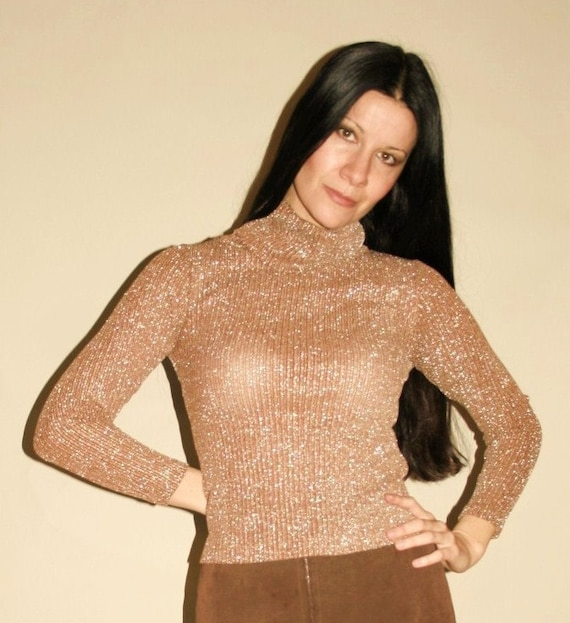 RESERVED Vintage 70's Bronze and Silver Lurex Cowl Neck Sweater