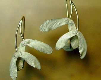 Double Japanese Maple Seed Earrings, Made to order