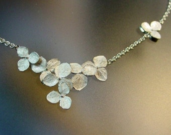 Flower Necklace, Hydrangea Cluster Necklace, Sterling Flower Wedding Necklace, Delicate Necklace, Made to order