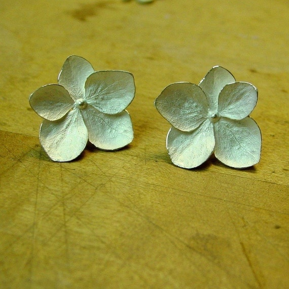 Large Five Petal Hydrangea Flower Earrings
