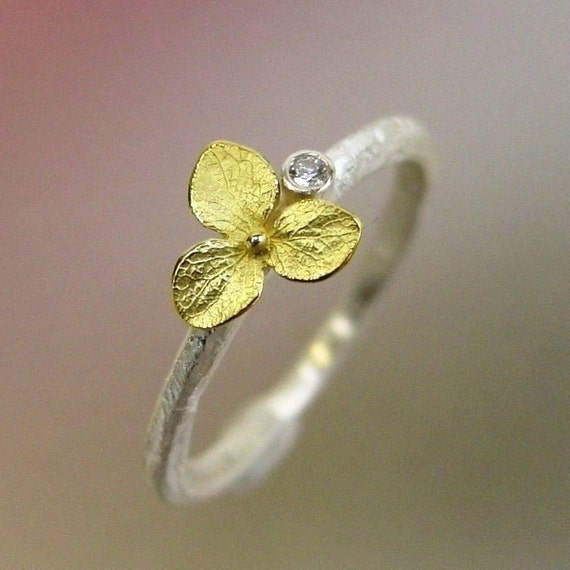 Hydrangea Blossom, Diamond Stacking Ring, Sterling Silver, 18k Gold Flower, SIZE 6 IN STOCK READY TO SHIP