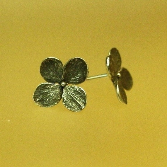 Hydrangea Flower Post Earrings, Oxidized Hydrangea Stud Earrings, Small Silver Flower Earrings, Made to Order