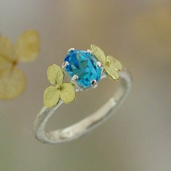 Blue Topaz Gemstone Ring, Alternative Engagement Ring, Unique Engagement, 18k Gold Hydrangea, Silver Gold Ring, Made to Order