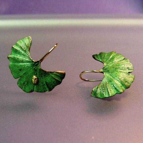 Ginkgo earrings with tiny 18k insect