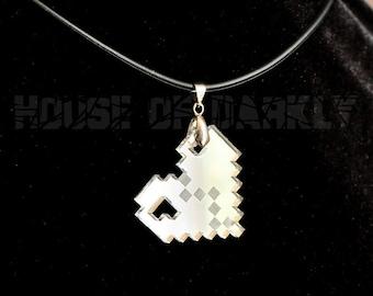 8bit HEARTBREAK laser-cut acrylic pixel heart necklace - mirror silver