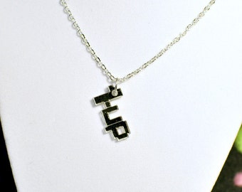 1-UP mirror acrylic necklace for gamer geek