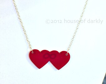 Time Lord Love acrylic double heart necklace Doctor Who inspired