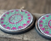 Handmade wooden earrings Rustic chic jewelry Wood and paper decoupage art Handcrafted by The Paisley Mill . steLLa
