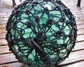 Glass Fishing Float, 13 Inch Net TAIWANESE Marks, RESERVED for DZEN, Nautical, Home Decor, Glass, Ocean, Sea, Beach, Cottage, Garden Decor