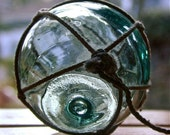 Glass Fishing Float Vintage Japanese - Aqua Topaz - Antique, Home Decor, Glass, Nautical, Ocean, Sea, Beach Cottage, Recycled Decor