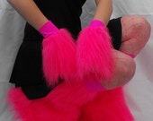 SALE Neon Pink Cyber Fluffy Furry Wrist Cuffs READY TO SHIP