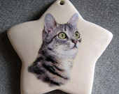 California Spangled Tabby cat star ornament, free personalizing 22k gold by Nicole