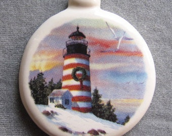 Christmas lighthouse ornament, pull down menu selection, free personalizing by Nicole