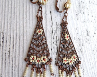 Art deco fringed long dangles Ivory and coral earrings