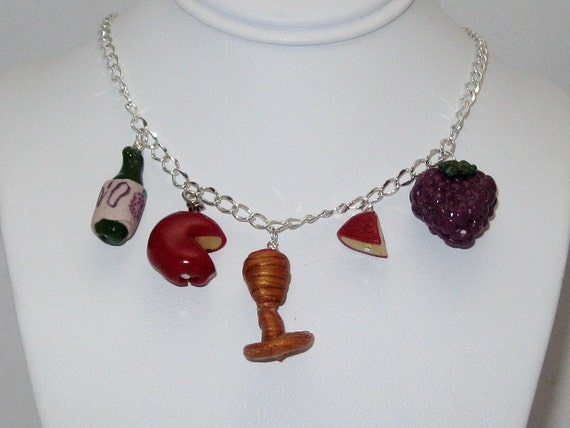 Wine Cheese Grapes Polymer Clay Charm Necklace