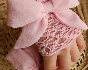 Crocheted lace fingerless Pink summer gloves with pink silky bow. Ready to Ship.