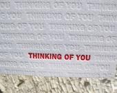 Thinking of You Letterpress Greeting Card - Modern Design w/ Blind Impression (single)