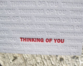 Thinking of You Letterpress Greeting Card - Modern Design w/ Blind Impression (single)