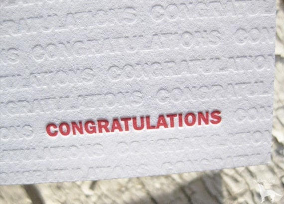 Congratulations Letterpress Greeting Card - Modern Design w/ Blind Impression (single)