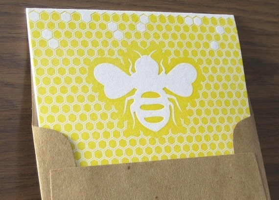 Letterpress Note Card Set - Bee with Honeycomb Background (6 per package)