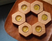 beehive geometry  / (6) cherry candle holders (set of six)