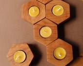 modular chemistry candle holders / (set of 9) / cherry native hardwood / eco-friendly modern home