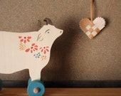 dreamy cow push toy - - Bucolic Cows on Wheels -  Wooden Folk Toy / Art toy