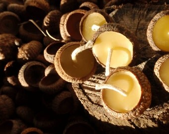 woodland acorn candles (30) --  floating acorn cap candles