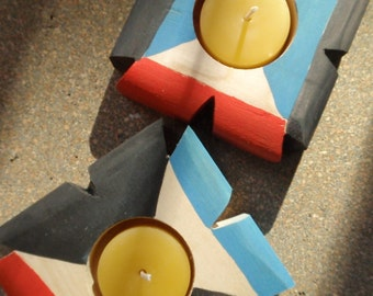 signals / tribal modern candle holder /color block artifacts /southwestern boho