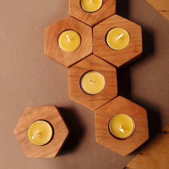 modular chemistry candle holders / (set of 9) / cherry native hardwood / eco-friendly modern home