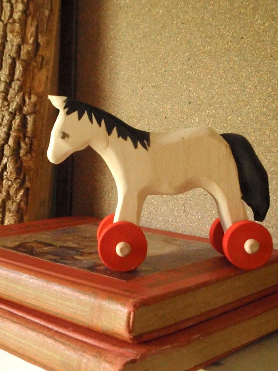 push toy horse, tried and true / classic wooden  folk toy