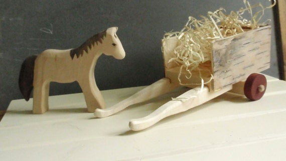 horse and cart set - waldorf toys/ doll miniature - nature table set