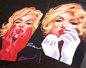 Marilyn Monroe set two art prints audrey hepburn pin up