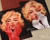 11x14in. Marilyn Monroe set of TWO art prints. audrey hepburn red black