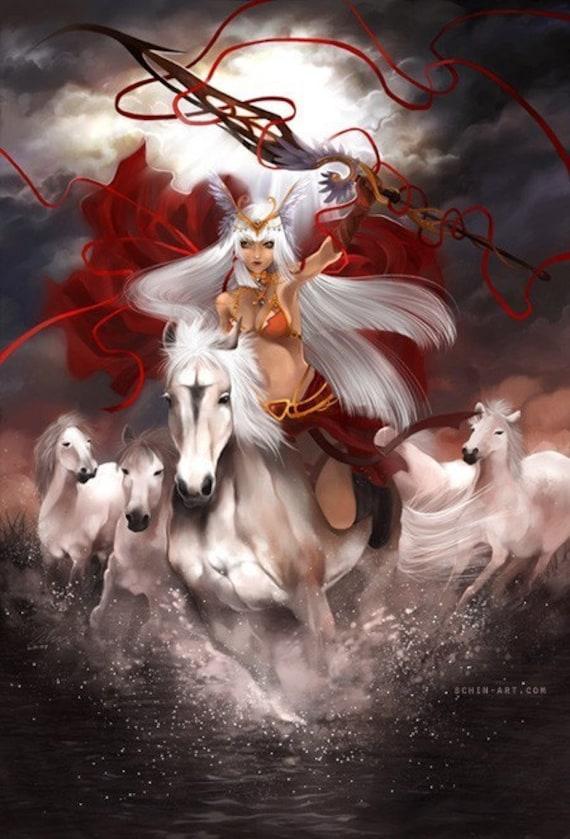 Equus. valkyrie fantasy horse greek warrior woman warcraft art print