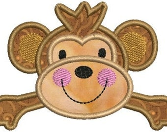 Zoo Baby Monkey Applique Machine Embroidery Designs 4x4 & 5x7 Instant Download Sale