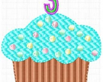 Dot Birthday Cupcake with Candle Numbers Machine Embroidery Designs Instant Download Sale