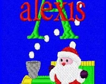 Christmas Santa Train Machine Embroidery Monogram Fonts Designs Instant Download Sale