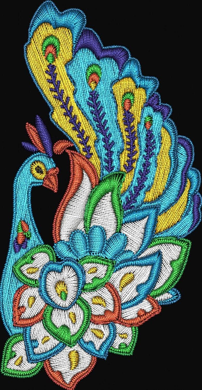 Jacobean peacocks birds machine embroidery designs instant
